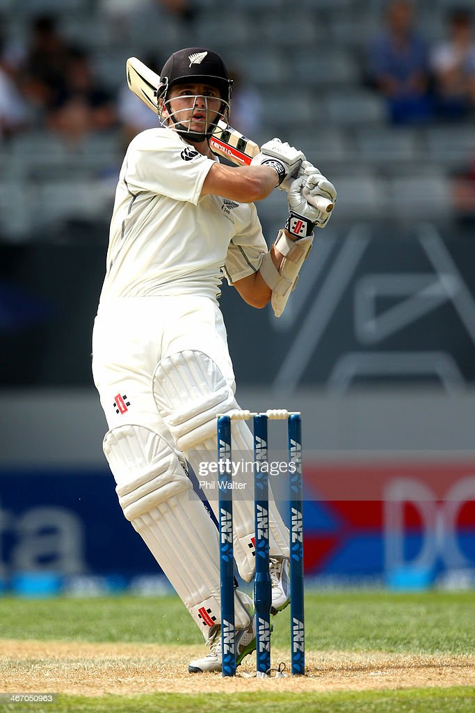 <a gi-track='captionPersonalityLinkClicked' href=/galleries/search?phrase=Kane+Williamson&family=editorial&specificpeople=4738503 ng-click='$event.stopPropagation()'>Kane Williamson</a> of New Zealand bats during day one of the First Test match between New Zealand and India at Eden Park on February 6, 2014 in Auckland, New Zealand.