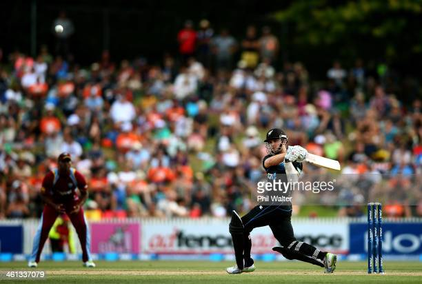 Kane Williamson of New Zealand bats during game five of the One Day International Series between New Zealand and the West Indies at Seddon Park on...