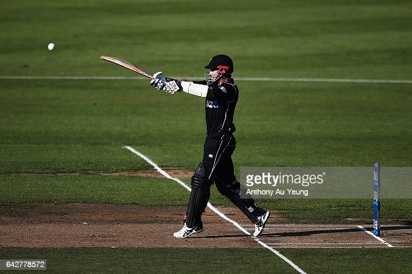 Kane Williamson of New Zealand bats during the First One Day International match between New Zealand and South Africa at Seddon Park on February 19...