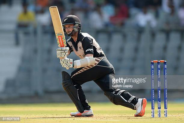 Kane Williamson of New Zealand bats during the ICC Twenty20 World Cup warm up match between New Zealand and England at Wankhede Stadium on March 12...