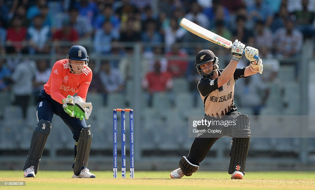 <a gi-track='captionPersonalityLinkClicked' href=/galleries/search?phrase=Kane+Williamson&family=editorial&specificpeople=4738503 ng-click='$event.stopPropagation()'>Kane Williamson</a> of New Zealand bats during the ICC Twenty20 World Cup warm up match between New Zealand and England at Wankhede Stadium on March 12, 2016 in Mumbai, India.