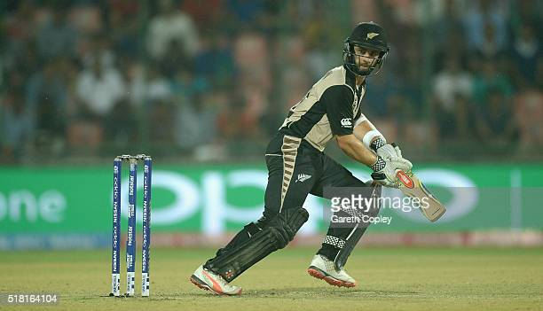 Kane Williamson of New Zealand bats during the ICC World Twenty20 India 2016 Semi Final match between England and New Zealand at Feroz Shah Kotla...