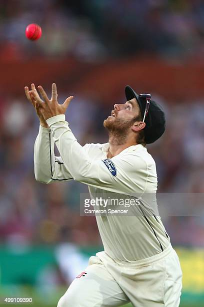 Kane Williamson of New Zealand catches out Mitch Marsh of Australia off a delivery by Mitchell Santner of New Zealand during day three of the Third...