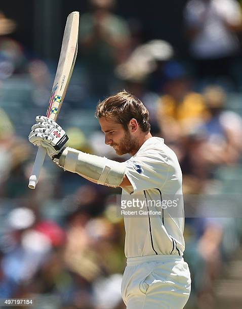 Kane Williamson of New Zealand celebrates after reaching his century during day three of the second Test match between Australia and New Zealand at...