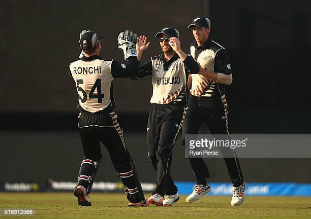 Kane Williamson of New Zealand celebrates after taking a catch to dismiss Shane Watson of Australia during the ICC World Twenty20 India 2016 Super...
