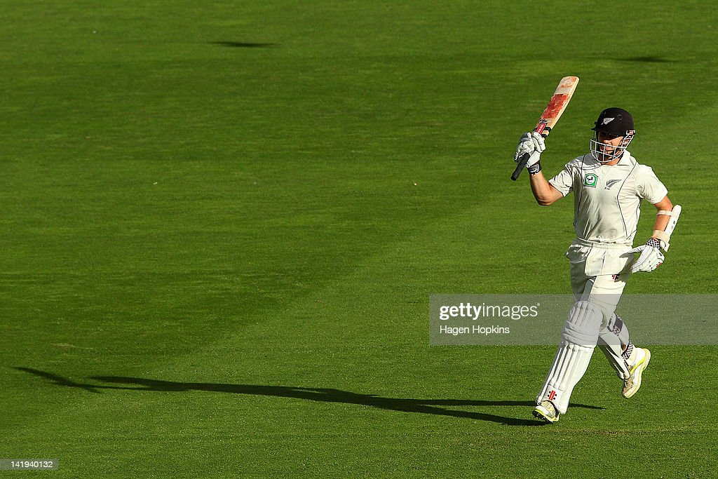<a gi-track='captionPersonalityLinkClicked' href=/galleries/search?phrase=Kane+Williamson&family=editorial&specificpeople=4738503 ng-click='$event.stopPropagation()'>Kane Williamson</a> of New Zealand celebrates his century during day five of the Third Test match between New Zealand and South Africa at Basin Reserve on March 27, 2012 in Wellington, New Zealand.