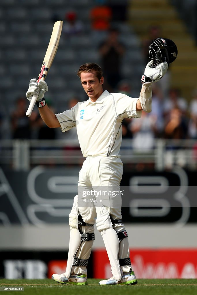 <a gi-track='captionPersonalityLinkClicked' href=/galleries/search?phrase=Kane+Williamson&family=editorial&specificpeople=4738503 ng-click='$event.stopPropagation()'>Kane Williamson</a> of New Zealand celebrates his century during day one of the First Test match between New Zealand and India at Eden Park on February 6, 2014 in Auckland, New Zealand.