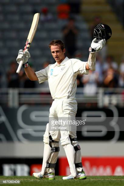 Kane Williamson of New Zealand celebrates his century during day one of the First Test match between New Zealand and India at Eden Park on February 6...