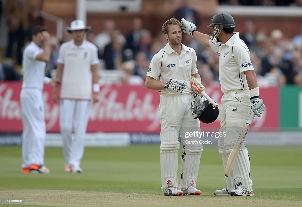 <a gi-track='captionPersonalityLinkClicked' href=/galleries/search?phrase=Kane+Williamson&family=editorial&specificpeople=4738503 ng-click='$event.stopPropagation()'>Kane Williamson</a> of New Zealand celebrates reaching his century with teammate <a gi-track='captionPersonalityLinkClicked' href=/galleries/search?phrase=Ross+Taylor&family=editorial&specificpeople=845922 ng-click='$event.stopPropagation()'>Ross Taylor</a> during day three of 1st Investec Test match between England and New Zealand at Lord's Cricket Ground on May 23, 2015 in London, England.