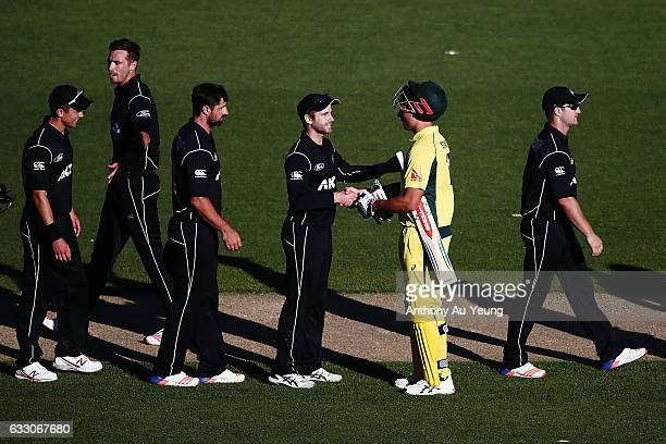 Kane Williamson of New Zealand congratulates Marcus Stoinis of Australia on his 146 not out performance after the first One Day International game...