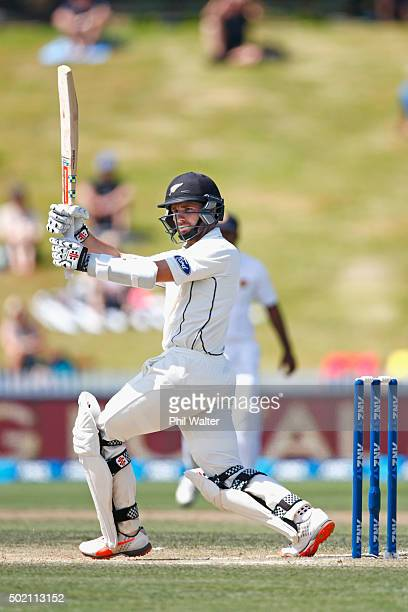 Kane Williamson of New Zealand hits a four to bring up his century during day four of the Second Test match between New Zealand and Sri Lanka at...
