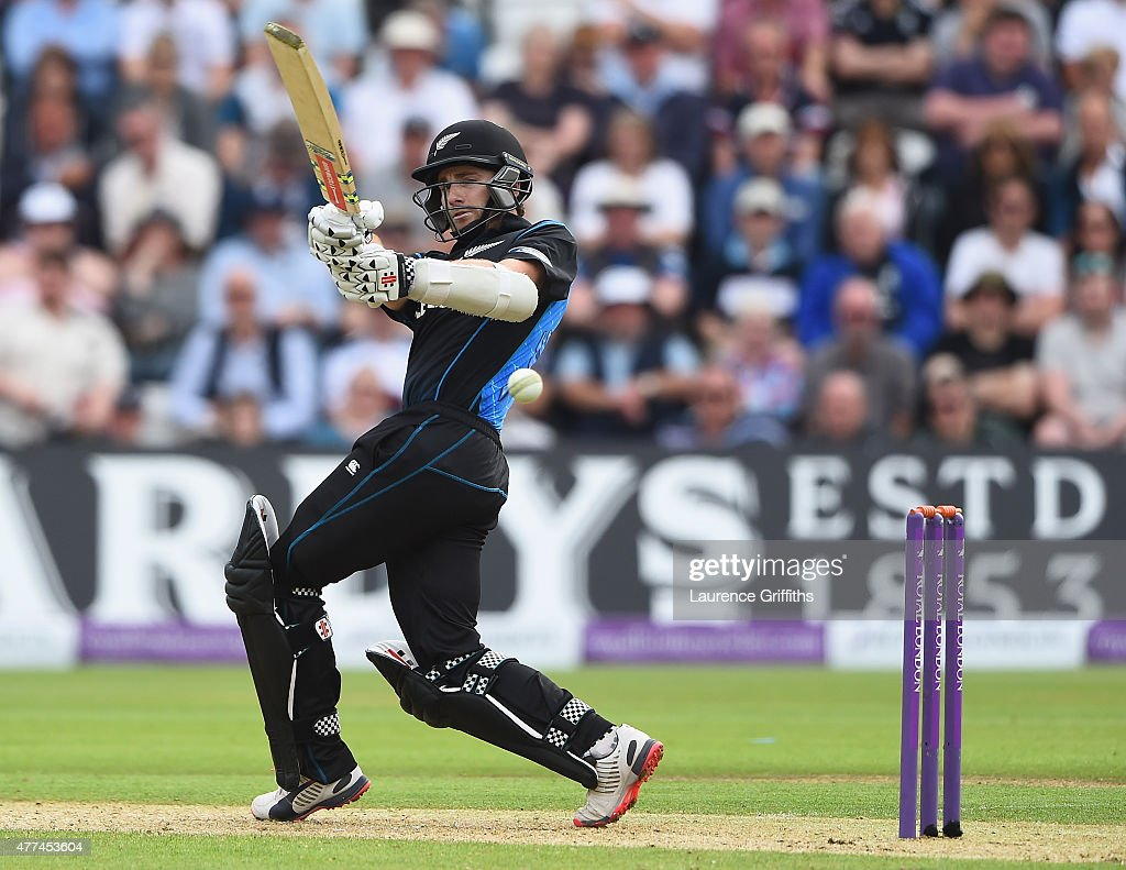 <a gi-track='captionPersonalityLinkClicked' href=/galleries/search?phrase=Kane+Williamson&family=editorial&specificpeople=4738503 ng-click='$event.stopPropagation()'>Kane Williamson</a> of New Zealand hits out during the 4th ODI Royal London One-Day International between England and New Zealand at Trent Bridge on June 17, 2015 in Nottingham, England.