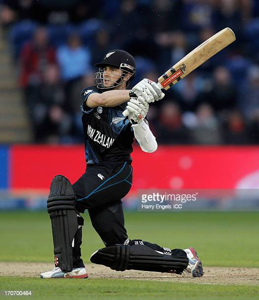 Kane Williamson of New Zealand hits out during the ICC Champions Trophy group A match between England and New Zealand at the SWALEC Stadium on June...