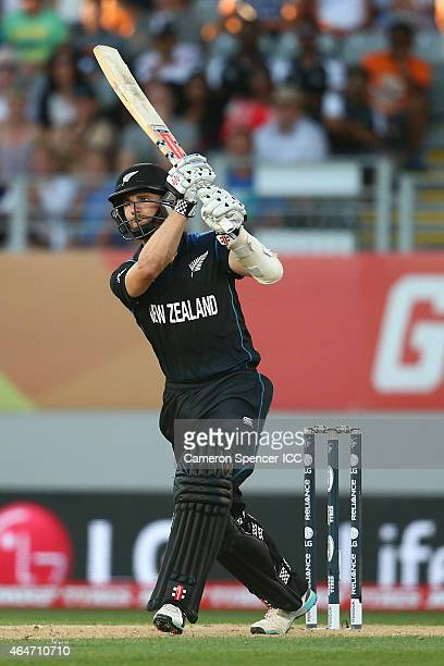 Kane Williamson of New Zealand hits the winning six runs during the 2015 ICC Cricket World Cup match between Australia and New Zealand at Eden Park...