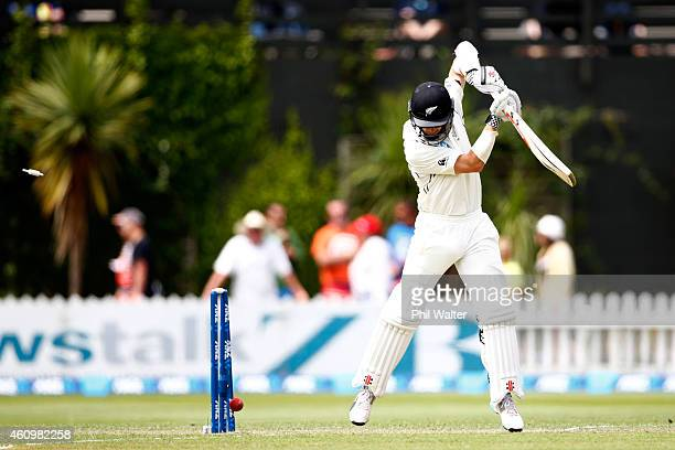 Kane Williamson of New Zealand is bowled by Dhammika Prasad of Sri Lanka during day one of the Second Test match between New Zealand and Sri Lanka at...