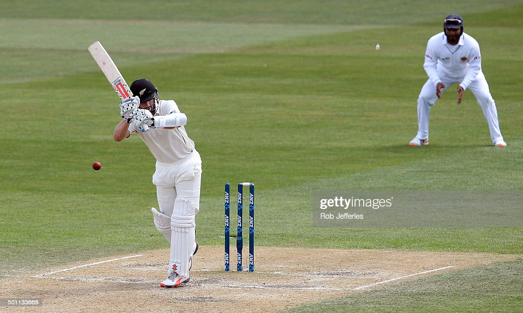 Kane Williamson of New Zealand is bowled by Dushmantha Chameera of Sri Lanka during day four of the First Test match between New Zealand and Sri...