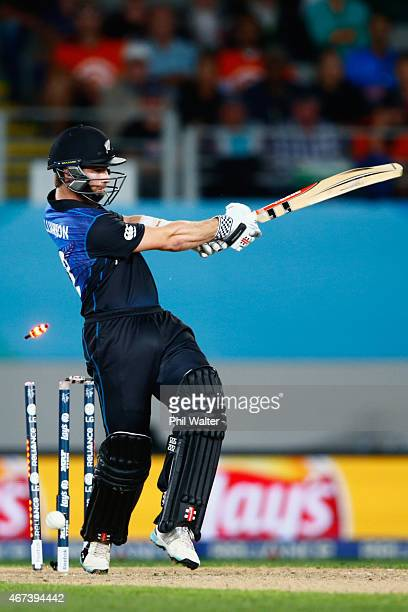 Kane Williamson of New Zealand is bowled by Morne Morkel of South Africa during the 2015 Cricket World Cup Semi Final match between New Zealand and...