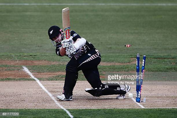 Kane Williamson of New Zealand is bowled by Rubel Hossain of Bangladesh during the third Twenty20 International match between New Zealand and...