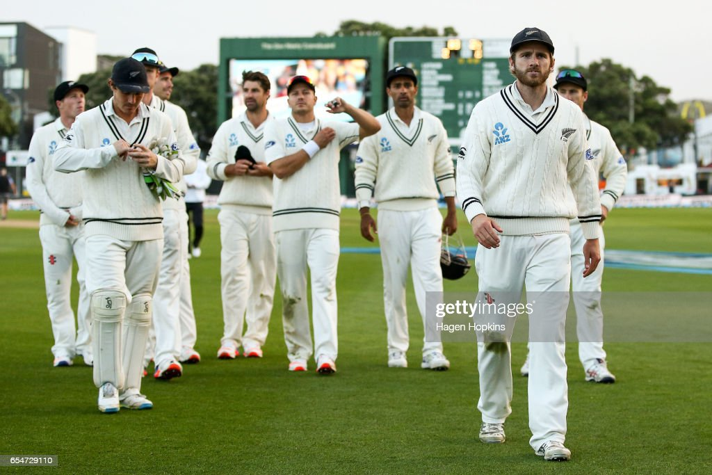 Kane Williamson of New Zealand leads his team off the field after the loss during day three of the test match between New Zealand and South Africa at Basin Reserve on March 18, 2017 in Wellington, New Zealand.