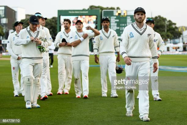 Kane Williamson of New Zealand leads his team off the field after the loss during day three of the test match between New Zealand and South Africa at...