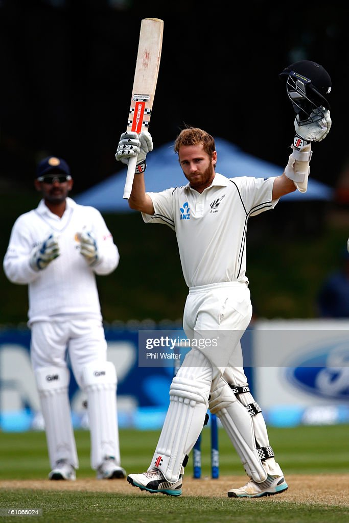 <a gi-track='captionPersonalityLinkClicked' href=/galleries/search?phrase=Kane+Williamson&family=editorial&specificpeople=4738503 ng-click='$event.stopPropagation()'>Kane Williamson</a> of New Zealand makes 200 runs during day four of the Second Test match between New Zealand and Sri Lanka at the Basin Reserve on January 6, 2015 in Wellington, New Zealand.