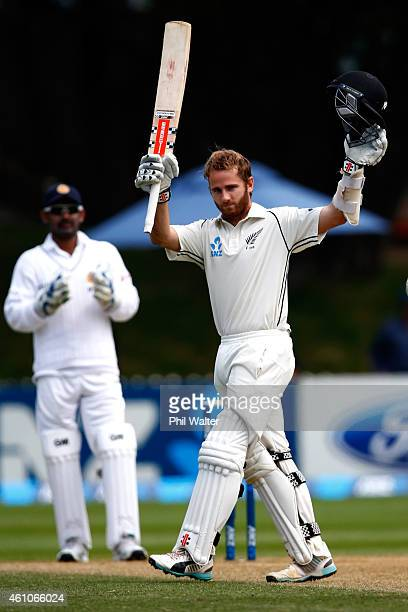 Kane Williamson of New Zealand makes 200 runs during day four of the Second Test match between New Zealand and Sri Lanka at the Basin Reserve on...