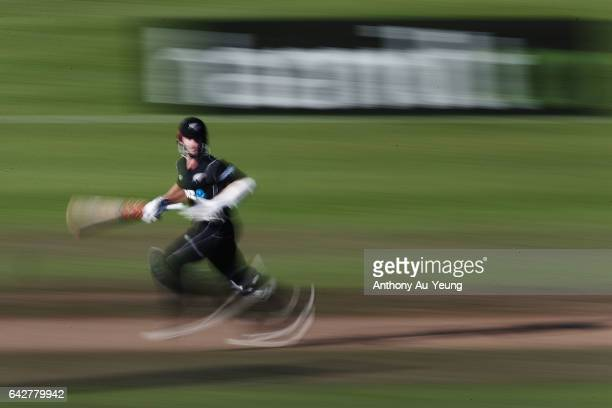 Kane Williamson of New Zealand makes his runs during the First One Day International match between New Zealand and South Africa at Seddon Park on...