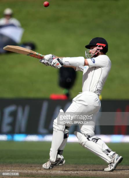 Kane Williamson of New Zealand plays a shot during day four of the third Test cricket match between New Zealand and South Africa at Seddon Park in...