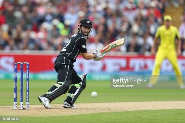 Kane Williamson of New Zealand plays a shot to third man during the ICC Champions Trophy match between Australia and New Zealand at Edgbaston on June...