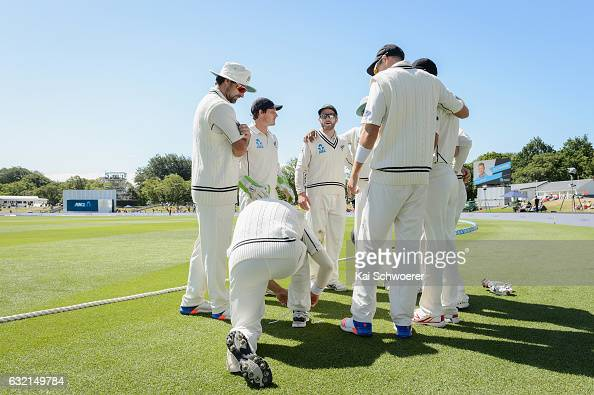 Kane Williamson of New Zealand speaks to his teammates during day one of the Second Test match between New Zealand and Bangladesh at Hagley Oval on...