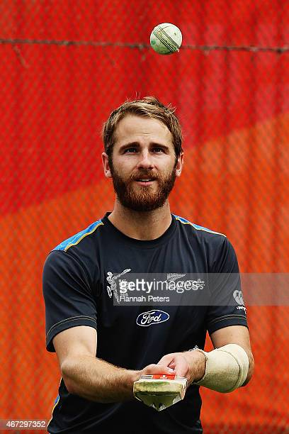 Kane Williamson of New Zealand warms up during a New Zealand nets session at Eden Park on March 23 2015 in Auckland New Zealand