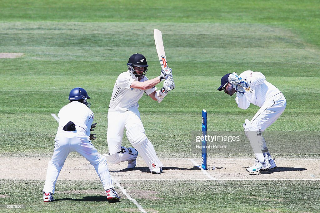 Kane Williamson of New Zealand works the ball away for four runs during day four of the First Test match between New Zealand and Sri Lanka at Hagley...