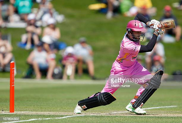 Kane Williamson of the Knights bats during the HRV Cup Twenty20 Canterbury Wizards and the Northern Knights at AMI Stadium on December 29 2010 in...