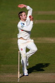 Kane Williamson of Yorkshire in bowling action during day three of the LV County Championship match between Somerset and Yorkshire at The County...