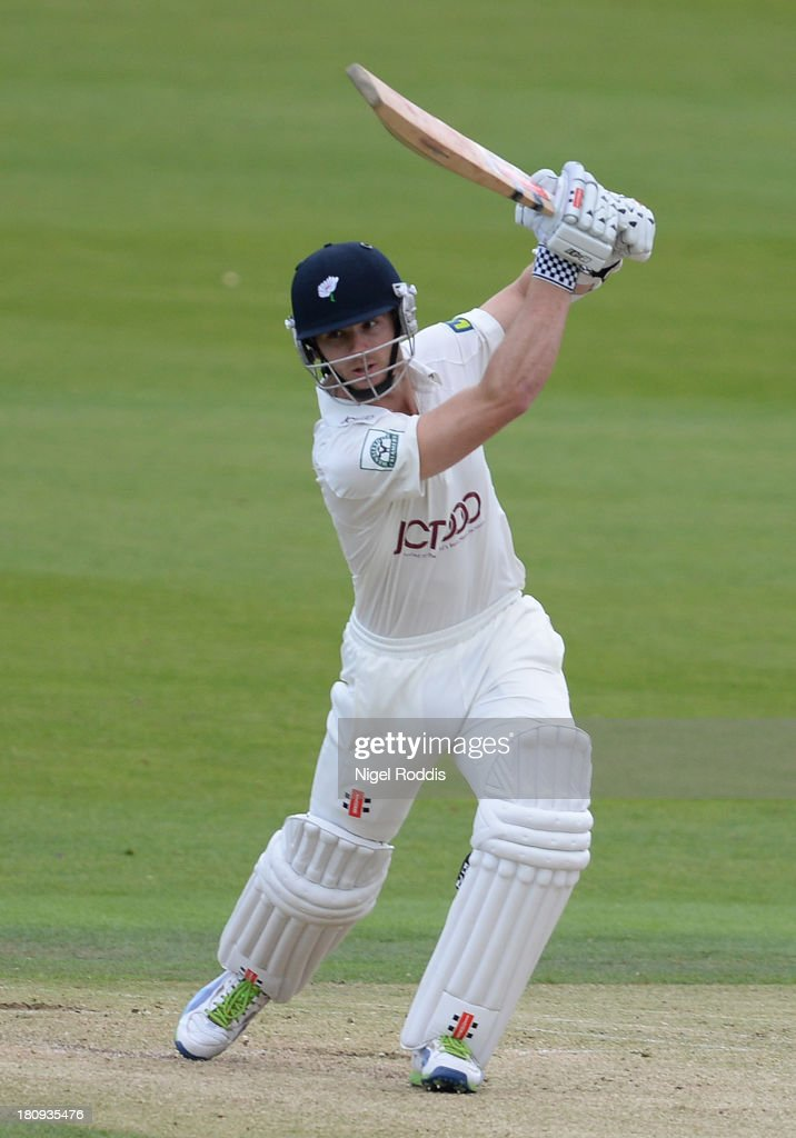 Kane Williamson of Yorkshire plays a shot during day two of the LV County Championship Division One match between Yorkshire and Middlesex at Headingley Stadium on September 18, 2013 in Leeds, England.