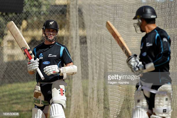 Kane Williamson speaks to teammate Ross Taylor during a New Zealand training session at Basin Reserve on March 12 2013 in Wellington New Zealand