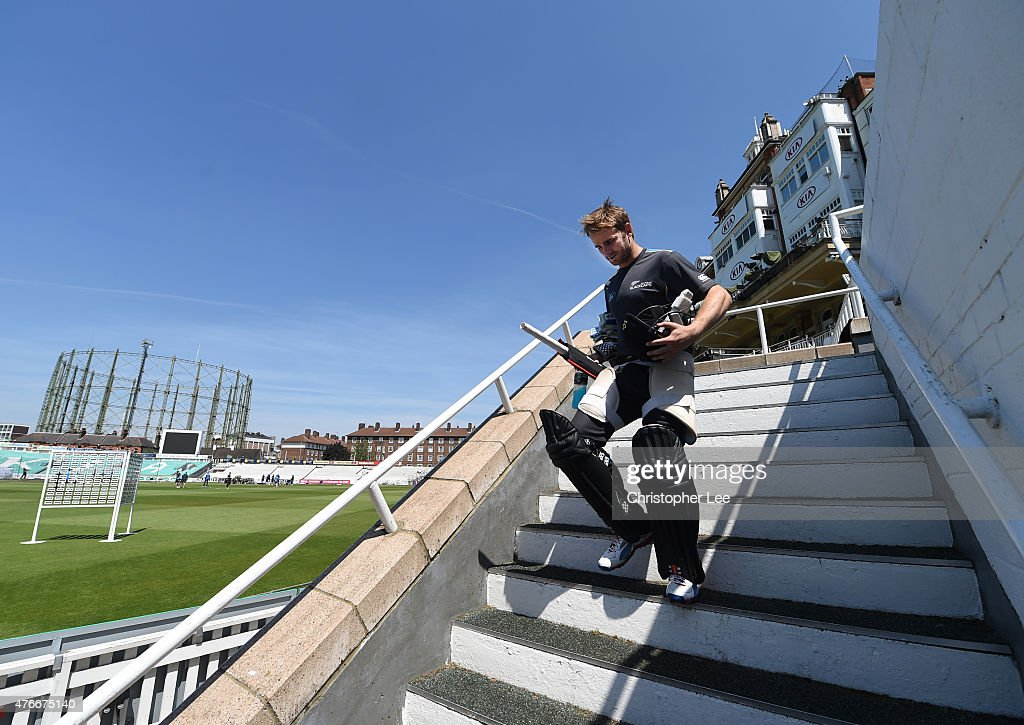 Kane Williamson walks out to bat during the New Zealand Nets Session at The Kia Oval on June 11, 2015 in London, England.