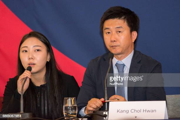 Kang Chol Hwan a North Korean dissident who was imprisoned concentration camp for 10 years sitting next to his translator speaks at the 2017 Oslo...