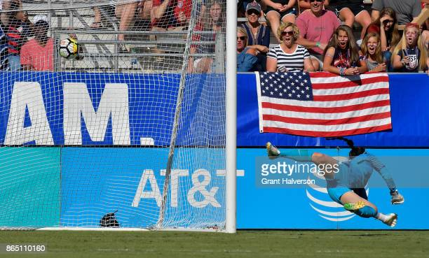 Kang Gaae of Korea Republic can't make the save against the USA during their game at WakeMed Soccer Park on October 22 2017 in Cary North Carolina