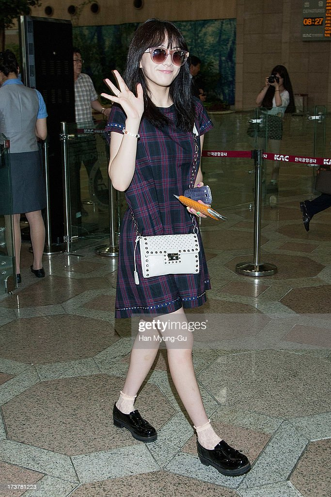 Kang Ji-Young (Jiyoung) of South Korean girl group Kara is seen on departure at Gimpo International Airport on July 18, 2013 in Seoul, South Korea.