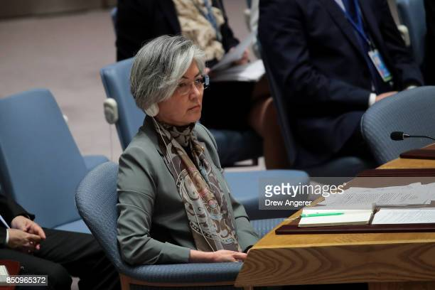 Kang Kyungwha Minister of Foreign Affairs of South Korea attends a UN Security Council meeting concerning nuclear nonproliferation during the United...