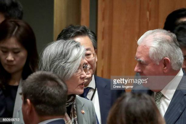 Kang Kyungwha Minister of Foreign Affairs of South Korea speaks with US Secretary of State Rex Tillerson before the start of a UN Security Council...