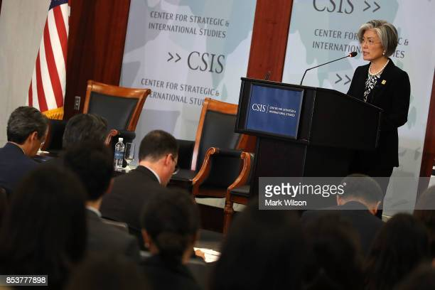 Kang Kyungwha South Korean Foreign Affairs Minister speaks about the current situation on the Korean Peninsula at the Center for Strategic and...