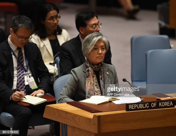 Kang Kyungwha South Korea's minister of foreign affairs listens to a speech by the US secretary of state at a UN Security Council meeting on...