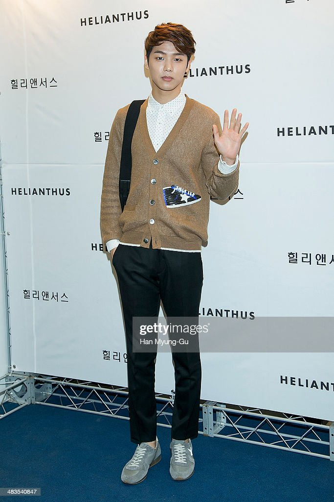 Kang Min-Hyuk of South Korean boy band CNBLUE attends the 'Helianthus' 2014 S/S Lesley Line Launch event at Lotte Department Store on April 9, 2014 in Seoul, South Korea.