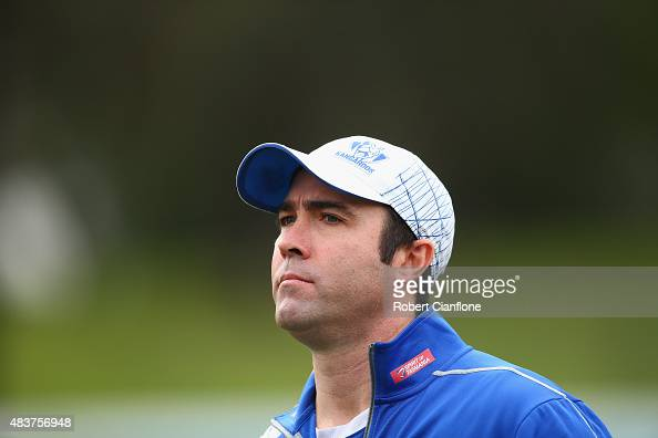 Kangaroios coach Brad Scott looks on during a North Melbourne Kangaroos AFL training session at Arden Street Ground on August 13 2015 in Melbourne...