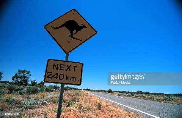 A Kangaroo crossing sign in outback Australia 10 September 2001