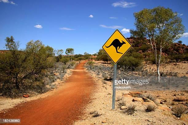 Sinal de canguru do Deserto australiano