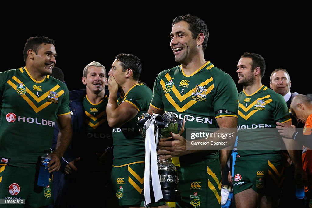 Kangaroos captain Cameron Smith and team mates celebrate winning the ANZAC Test match between the Australian Kangaroos and the New Zealand Kiwis at Canberra Stadium on April 19, 2013 in Canberra, Australia.