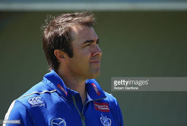 Kangaroos coach Brad Scott looks on prior to the NAB Challenge AFL match between the North Melbourne Kangaroos and the Hawthorn Hawks at Deakin...